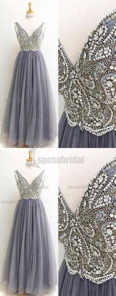 Beaded Sparkly V Neck Long Sleeveless Gorgeous Popular Prom Dresses, Evening dresses, PD0590