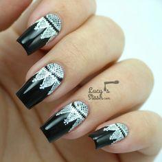Black and white lace nailart #nailart #nails #black #white #lace