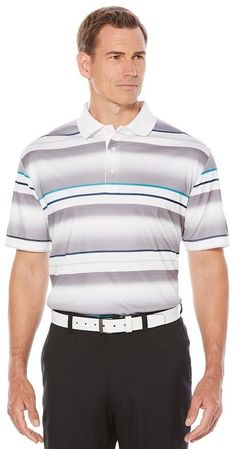 Jack Nicklaus Men's Jack Nicklaus Regular-Fit StayDri Shadow-Striped Golf Polo