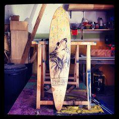 Custom longboard wolf phauna longboards  www.phaunalongboards.com