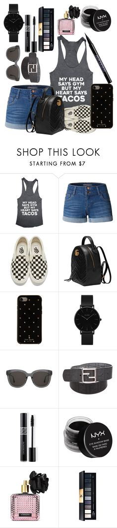 """""""Black taco!"""" by oneatwphogeebaby ❤ liked on Polyvore featuring LE3NO, Vans, Gucci, Kate Spade, CLUSE, Gentle Monster, Fendi, Christian Dior, NYX and Victoria's Secret"""