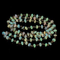 """27CRTS 4to4.5MM 24"""" ETHIOPIAN OPAL RONDELLE BEADS CHAIN NECKLACE OBI1477 #OPALBEADSINDIA"""