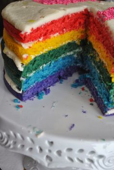 Rainbow Cake (with a seriously good white cake recipe)Lori's Lipsmacking Goodness