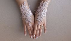 light pink lace glove  Wedding gloves free ship  by WEDDINGGloves, $30.00