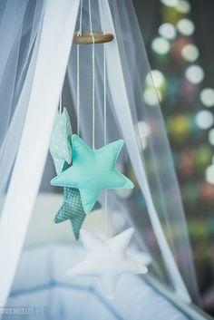Nursery mobile Stars mint white - Baby mobile nursery decor