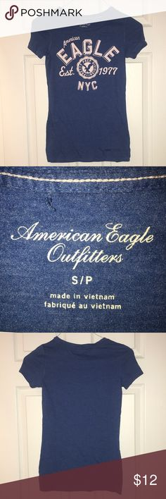 American Eagle Graphic Tee Blue Graphic tee from AE.  Size small.  Gently worn. No signs of damage.  Bundle to save! American Eagle Outfitters Tops Tees - Short Sleeve