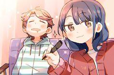 Futaba and Kaoruko, by Anime Girl Neko, Yuri Anime, Beautiful Dark Art, Anime Couples Manga, Shoujo, Anime Characters, Pikachu, Animation, Fan Art