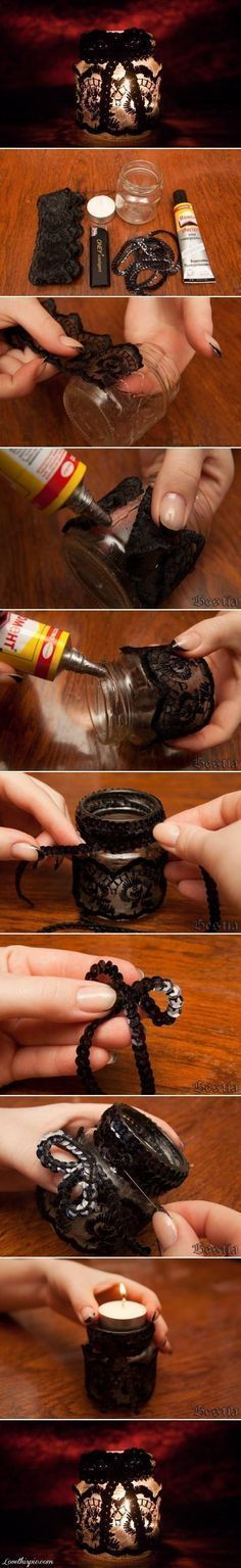 Interesting lace votive directions. I would use a shot glass and ignore the bow at the top to make it a little less cutesy.