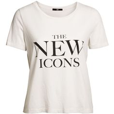 """Le t-shirt imprimé """"New Icons"""" ❤ liked on Polyvore featuring tops, t-shirts, shirts, graphic tee, graphic design shirts, graphic print tees, tee-shirt, white top and graphic tops"""