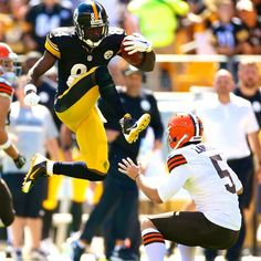 Antonio Brown's attempt to hurdle Spencer Lanning results in a kick to the face - this will forever be my favorite!