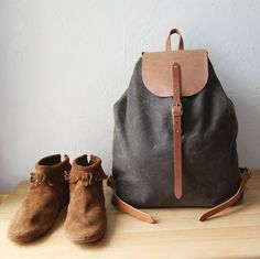 Waxed Canvas Knapsack // Backpack // Day Pack // in Charcoal Brown // Organic Cotton Lining. $209.00, via Etsy.