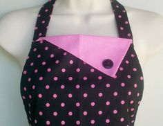 Retro Black and Pink Polka Dot Apron / Vintage Inspired. $35.00, via Etsy.