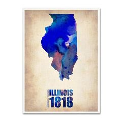 """Trademark Art """"Illinois Watercolor Map"""" by Naxart Graphic Art on Wrapped Canvas Size: 19"""" H x 14"""" W x 2"""" D"""