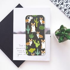 totally cute corgi 5s case. color: frosty charcoal :))