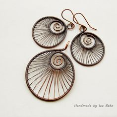 Nautilus  Wire Wrapped Copper Earring and Pendant ♥ by WireFantasies