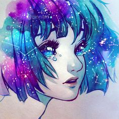 She wears constellations in her hair dibujos a lápiz, dibujos hermosos, Art Inspo, Inspiration Art, Anime Galaxy, Galaxy Art, Galaxy Eyes, Galaxy Space, Art And Illustration, Art Galaxie, Manga Art