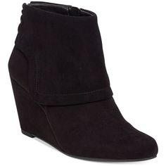 Jessica Simpson Reaca Wedge Booties ($99) ❤ liked on Polyvore featuring shoes, boots, ankle booties, black, fold over wedge boots, black ankle booties, fold-over boots, wedge heel boots and wedge booties