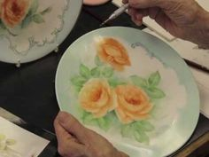 Porcelain Painting Roses Part 3 - YouTube