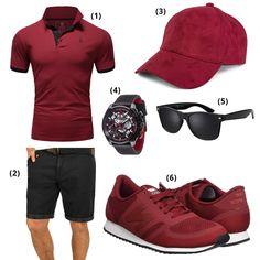 Dunkelrot-Schwarzes Männer-Outfit für den Sommer: dunkelrotes Polo T-Shirt, Indicode Inka Herren Shorts (derzeit 15% reduziert), dunkelrotes styleBREAKER Baseball Cap, DETOMASO Herrenuhr (38% reduziert), schwarze Sonnenbrille (25% reduziert) und dunkelrote Newbalance Sneaker. #dunkelrot #newbalance #outfits #outfitideas #outfitdestages #männer #herren #männerfashion #fashion #herrenfashion #herrenmode #mode #männermode