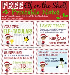 FREE Elf on the Shelf Notes to Print for the Season plus Dozens of Great and Easy Ideas found on Frugal Coupon Living.