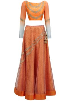 Tangerine and printed embroidered lehenga set available only at Pernia's Pop-Up Shop.
