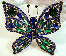 Vintage JULIANA Costume Jewelry Rhinestone Butterfly Brooch Large