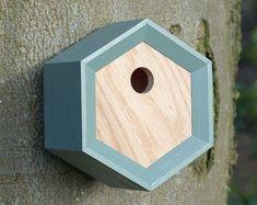 Bird House // Solid Oak Birdhouse Handcrafted Organic Gift // Bird Nesting Box // Modern Bird Box // Gift for Gardeners // Gardening Gift