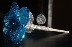 Made to Order  Blue French Beaded Flower by MyLovelyViolet on Etsy, $34.00