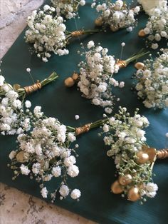 Gold berries and gypsohoila buttonholes finished with gold ribbon September Wedding Flowers, Tim Tam, Gold Ribbons, Seasonal Flowers, Buttonholes, Berries, Floral Wreath, Wreaths, Seasons