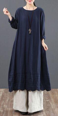 7cf4880c70 Vintage Pure Color Cotton Linen Maxi Dresses For Women 6091 Wide Trousers