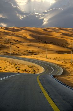Although Saudi Arabia is not a place that I care to visit personally, I do think this image is quite beautiful. *Winding road through the desert in Saudi Arabia - (Photo by Saud Alrshiad). Beautiful Roads, Beautiful Landscapes, Beautiful Places, Amazing Places, The Road, Winding Road, Photos Voyages, Wonders Of The World, Landscape Photography