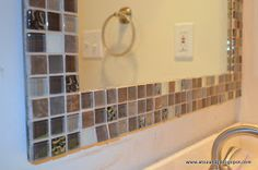 Time to update my guest bathroom! For my first project I updated the old boring mirror with some glass tile. It turned ou. Mirror Tiles, Diy Mirror, Bathroom Mirrors, Small Bathroom, Mirror Mosaic, Master Bathrooms, Bathroom Cabinets, Master Bedroom, Diy Furniture Projects