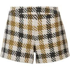 Alice+Olivia Plaid Short Shorts ($250) ❤ liked on Polyvore featuring shorts, hot short shorts, hot shorts, mini shorts, micro shorts and tartan shorts