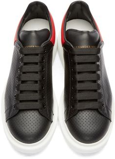 Alexander McQueen Black Perforated Leather Sneakers #alexandermcqueenbag #alexandermcqueenshoes