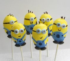 Minion Cake Pops...lol  despicable me