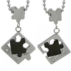 Kalung Couple Puzzle Pieces Puzzle Pieces, Dog Tags, Dog Tag Necklace, Drop Earrings, Couples, Jewelry, Fashion, Moda, Jewlery