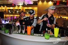 Sergio Perez, Sahara Force India F1 and team mate Nico Hulkenberg, Sahara Force India F1 at a Hype Energy Drink event