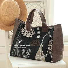 Patchwork Bags, Quilted Bag, My Bags, Purses And Bags, Japanese Bag, Cat Bag, Denim Bag, Fabric Bags, Brown Bags