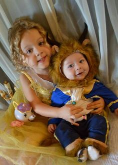 Beauty and the Beast costumes Baby Beast Costume, Beast Costume Toddler, Beauty And The Beast Halloween Costume, Toddler Halloween, First Halloween, Family Halloween Costumes, Baby Costumes, Diy Halloween, Halloween 2020