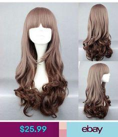 5f7ff0708e4 New Long Charm Lolita Curly Wavy Brown Anime Cosplay Wig U 12