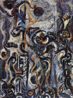 """The Mad Moon Woman, 1941 Jackson Pollock. """"In the late 1930s Pollock introduced imagery based on totemic or mythic figures, ideographic signs, and ritualistic events, which have been interpreted as pertaining to the buried experiences and cultural memories of the psyche."""""""