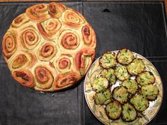 Zucchini bites and pesto pull apart bread