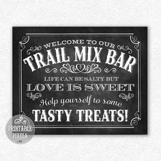 Trail Mix Bar Printable Wedding Sign // by PrintablePixels on Etsy