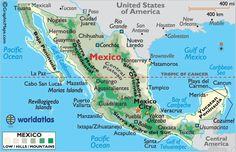 México está al sur de Estados Unidos. Está en América del Norte. Está al norte de Centroamérica.