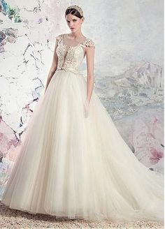 Glamorous Tulle & Organza Jewel Neckline A-Line Wedding Dresses With Lace Appliques