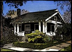 Bungalow Block Prints- your own home captured in time – in a period block style print.