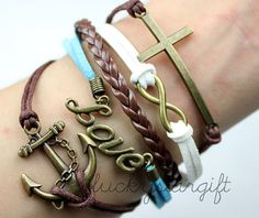 Decorated with endless charm infinite copper cross cross anchor and tan leather bracelet fashion trends,gift-Q015 by luckystargift, $6.29