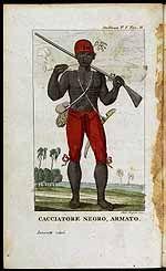 """De titel van de oorspronkelijke engelse gravure is : """"A Coromantijn Free Negro, or Ranger armed"""". Om de overvallen van marrons te bestrijden, richtte gouverneur Nepveu in 1772 een Neger Vrijcorps op, bestaande uit zo'n driehonderd slaven, die na hun diensttijd de vrijheid en een kostgrondje zouden krijgen. Deze soldaten werden Zwarte Jagers genoemd of Redimoesoe (Rode Mutsen). Klik plaatje voor meer info + illustraties."""