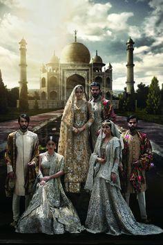 Fashion shoot by Pakistani Wedding Dresses, Pakistani Bridal, Indian Dresses, Indian Outfits, Wedding Sherwani, Pakistani Couture, Indian Couture, Royal Family Portrait, Indian Bridal Fashion