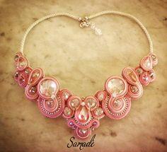 Necklace • Lightpink & Crystals #Soutache